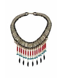 TOPSHOP | Black Statement Feather Drop Collar | Lyst