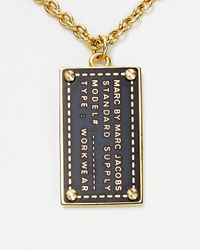 Marc By Marc Jacobs Metallic Standard Supply Dog Tag Pendant Necklace 18