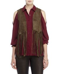 Re:named | Green Faux Suede Fringe Vest | Lyst