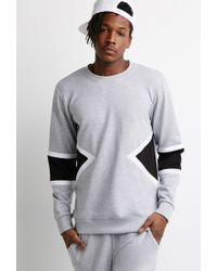 Forever 21 - Gray Heathered Colorblock Sweatshirt for Men - Lyst