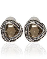 Stephen Dweck Metallic Silver Yellow Quartz Clip-On Earrings