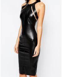 TFNC London Black Leather Look Midi Dress With Mesh Inserts
