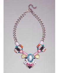 Bebe - Pink Crystal Statement Necklace - Lyst