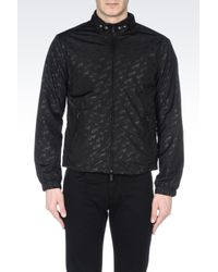 Armani Jeans | Black Blouson In Logo Patterned Technical Fabric for Men | Lyst