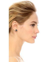Marc By Marc Jacobs Black Logo Disc Stud Earrings