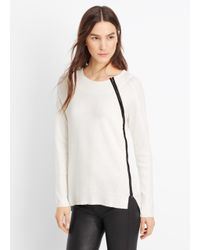 Vince - White Asymmetric Zip Textured Crew Neck Sweater - Lyst
