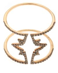 Kismet by Milka - Metallic Gold Champagne Diamond Open Star Ring - Lyst