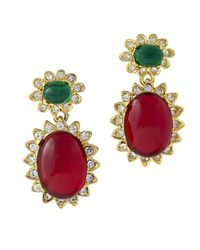 Kenneth Jay Lane | Multicolor Emerald & Ruby Cabochon Drop Clip Earring | Lyst