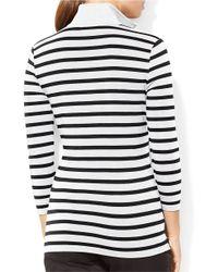 Lauren by Ralph Lauren   Black Striped Pullover   Lyst
