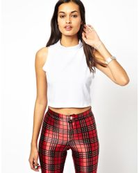 Glamorous - White Roll Neck Crop Top - Lyst