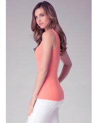 Bebe - Red Ribbed Tank - Lyst