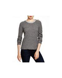 Aqua Gray Cashmere Cashmere Ottoman Stripe Button Shoulder Sweater