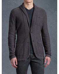John Varvatos Gray Shawl Collar Sweater Jacket for men