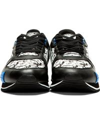 KENZO Black and White Tiger Print Running Shoes for men