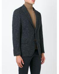 Eleventy Black Peaked Lapel Blazer for men