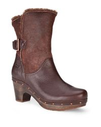 UGG Brown Amoret Leather Heeled Boots