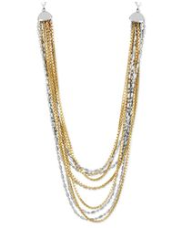 Kenneth Cole | Metallic Twotone Multirow Necklace | Lyst