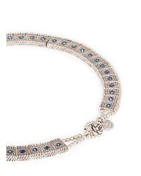 Philippe Audibert - Blue 'lina' Crystal Milgrain Choker Necklace - Lyst