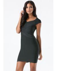 Bebe Black Off Shoulder Bandage Dress