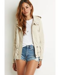 Forever 21 - Natural Hooded Twill Jacket You've Been Added To The Waitlist - Lyst