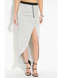 Forever 21 - Gray Heathered Knit Maxi Skirt - Lyst