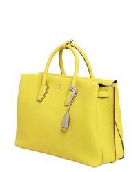 MCM Yellow Milla Leather Top Handle Bag