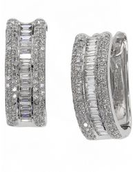 Effy | Metallic Diamonds And 14k White Gold Hoop Earrings, 0.88 Tcw | Lyst