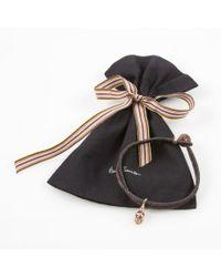 Paul Smith - Rose Gold Skull Charm Brown Bracelet for Men - Lyst