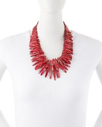 Nest - Double-strand Pink Jasper Point Fringe Necklace - Lyst
