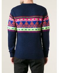 Penfield Blue Jacquard Knit Sweater for men