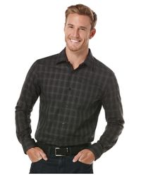Perry Ellis - Black Sateen Windowpane Shirt for Men - Lyst