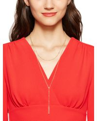 kate spade new york | Metallic Dainty Sparklers Layered Pave Bar Y Necklace | Lyst