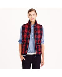 J.Crew Red Excursion Quilted Vest In Buffalo Check