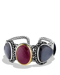 David Yurman Metallic Moonlight Cuff with Ruby Black Orchid Diamonds and Gold