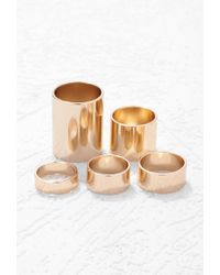 Forever 21 - Metallic Tube Midi Ring Set - Lyst