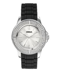 Versus - Black Tokyo Crystal Round Stainless Steel Silver Sunray Dial Crystals Watch - Lyst