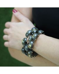 Federica Rettore | Black Alba Panthere Labradorite Bracelet | Lyst
