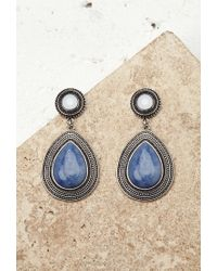 Forever 21 | Blue Faux Stone Drop Earrings | Lyst