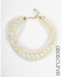 Asos Curve | Natural Faux Pearl Choker Necklace | Lyst