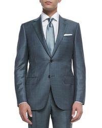 Ermenegildo Zegna Blue Trofeo Wool Sharkskin Suit for men