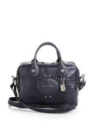 Longchamp - Black Crocodileembossed Small Satchel - Lyst