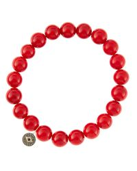 Sydney Evan | 8Mm Red Coral Beaded Bracelet With 14K Gold/Diamond Round Evil Eye Charm (Made To Order) | Lyst