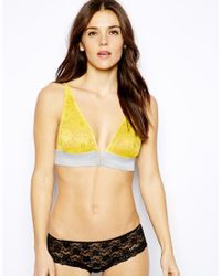 Free People - Yellow Tiny Daisy Lace V Wire Soft Bra - Lyst