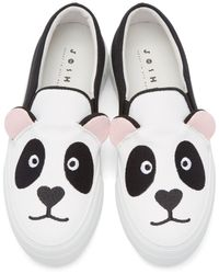 Joshua Sanders Black Panda Bear Appliqué Slip-On Sneakers