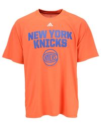 Adidas Originals Orange Men's New York Knicks Net Up Climalite T-shirt for men