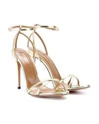 Aquazzura Metallic Selene Mirroredleather Sandals
