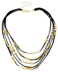 Steve Madden - Metallic Goldtone Black Cord and Mixed Bead Illusion Necklace - Lyst