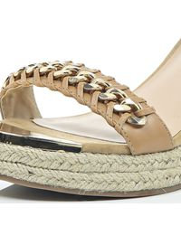 River Island Natural Beige Leather Chain Front Espadrille Wedges