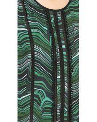 Veronica Beard Green Malachite Lace Inset Blouse - Emerald/Black