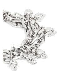 Alexander McQueen | White Crystal Skull Chain Bracelet | Lyst